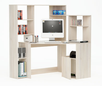 CORNER DESK WITH WALL STORAGE GROOVE